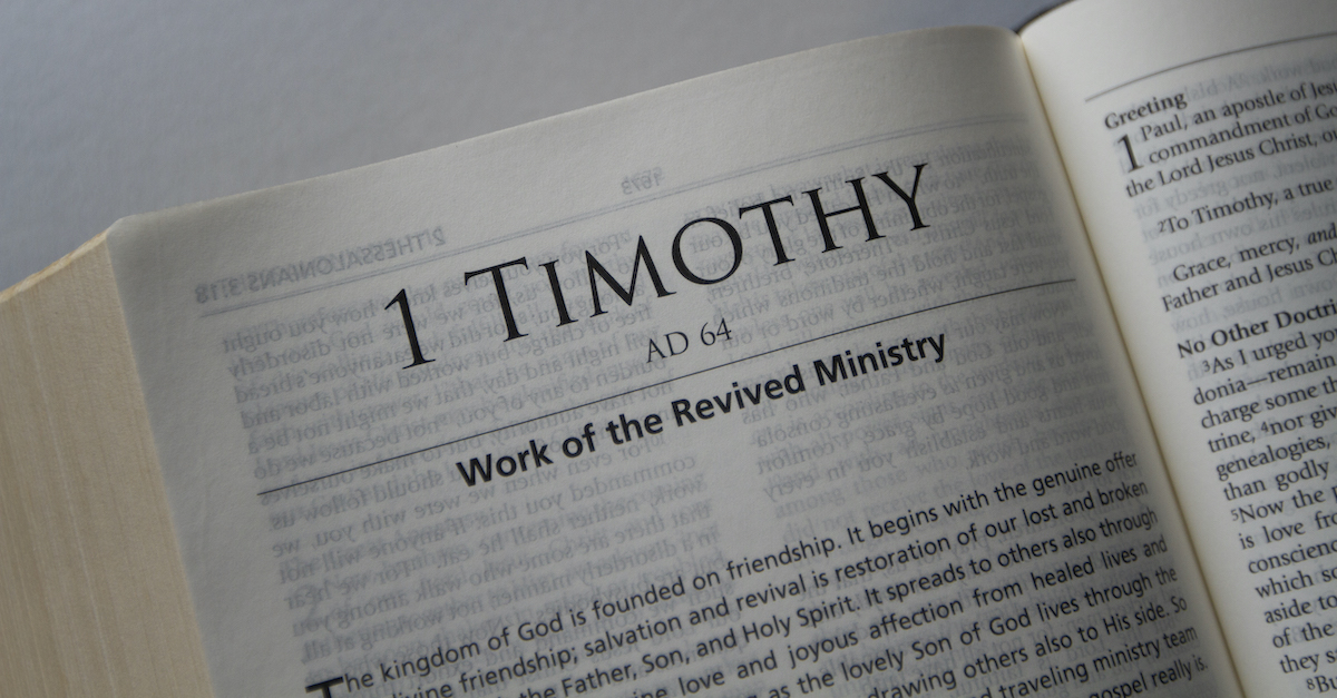 Bible open to 1 Timothy, summary of 1 Timothy
