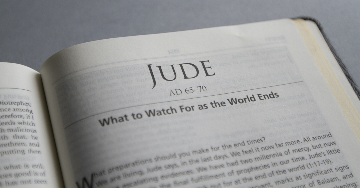 Bible open to Book of Jude, summary of Jude
