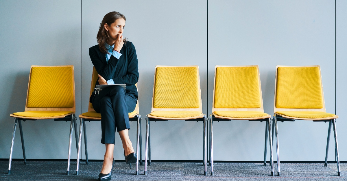 Woman waiting nervously for an interview