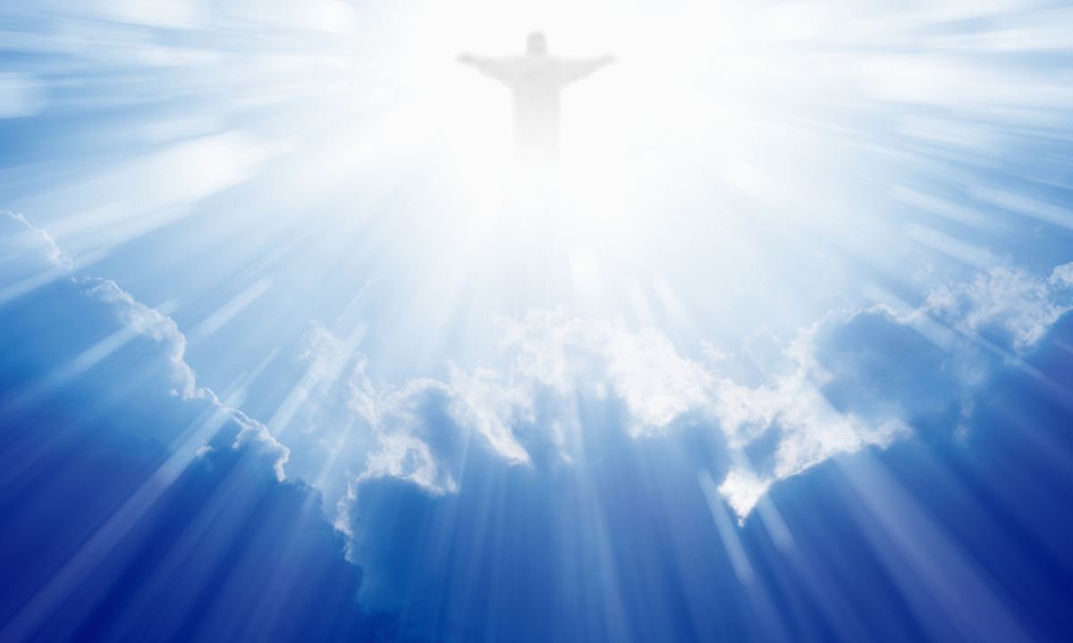 christ ascension in cloud sunbeams heaven