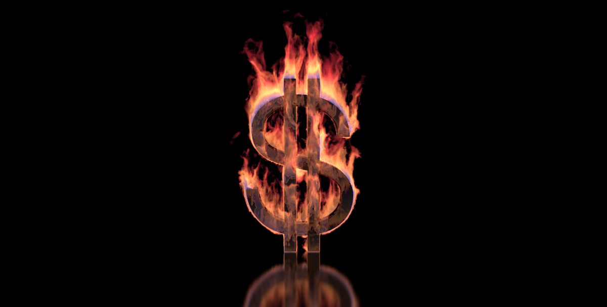 dollar money sign on fire
