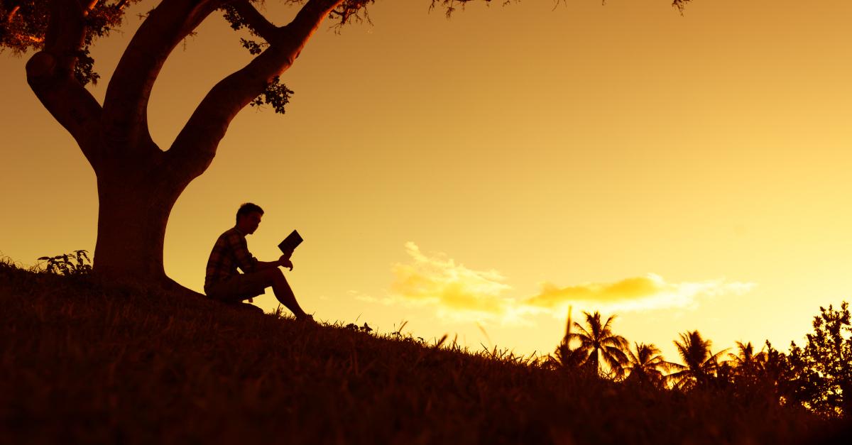 silhouette man on hillside at dusk reading bible