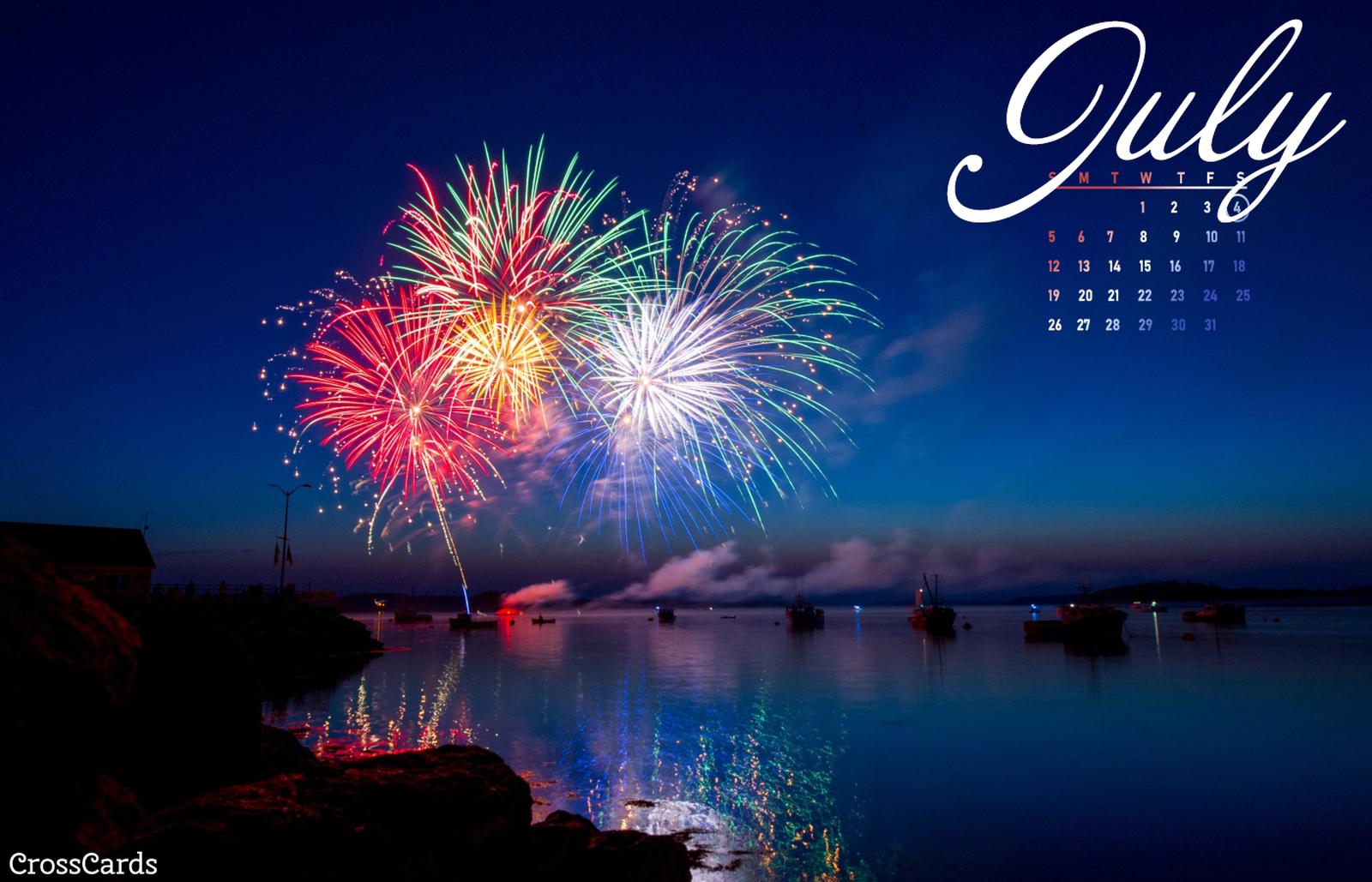 July 2020 - Fireworks mobile phone wallpaper