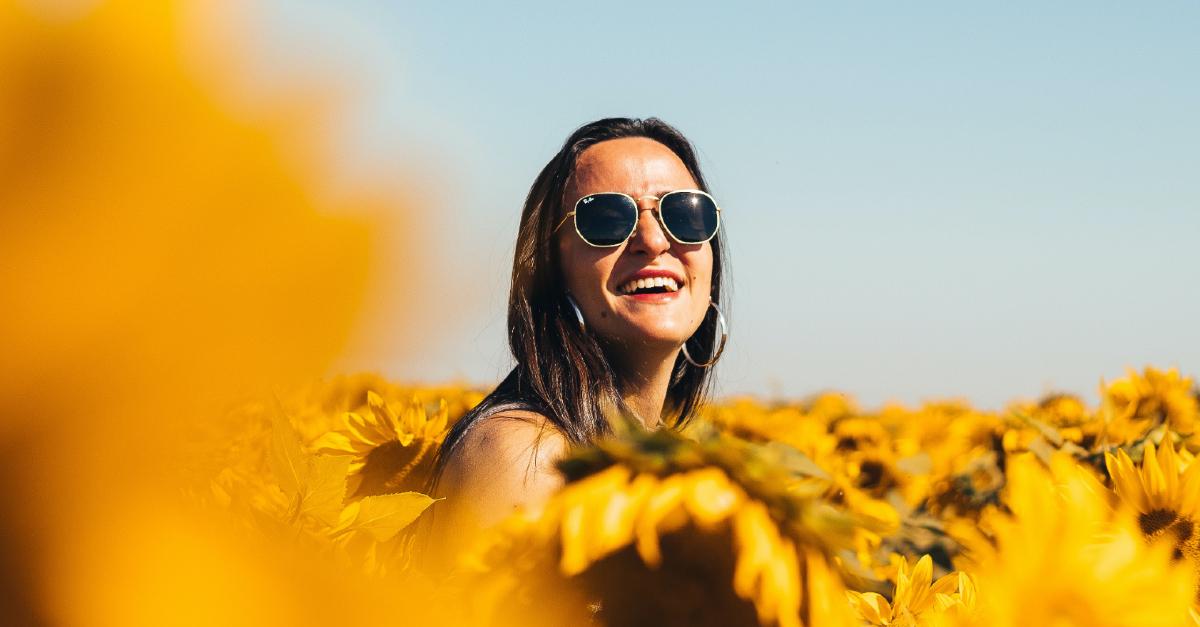 woman with in flower field