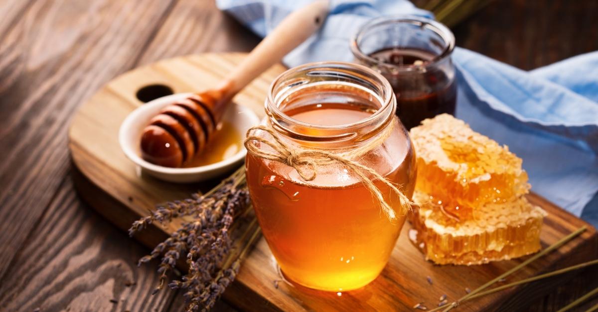 A pot of honey and lavendar