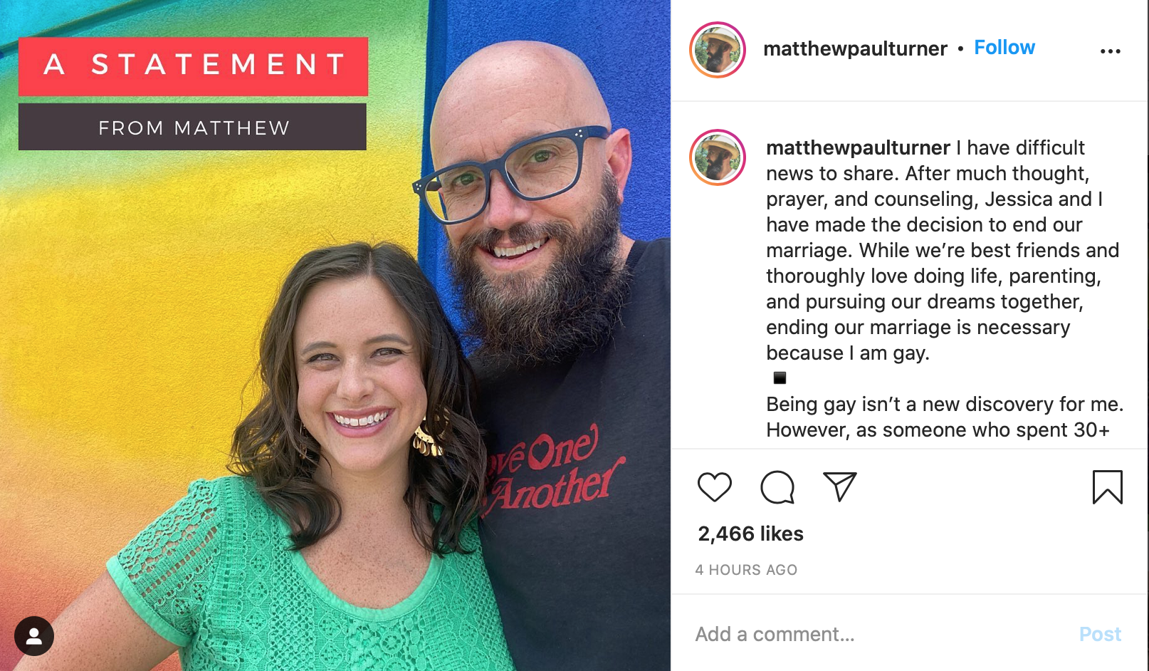 Matthew Turner comes out as gay