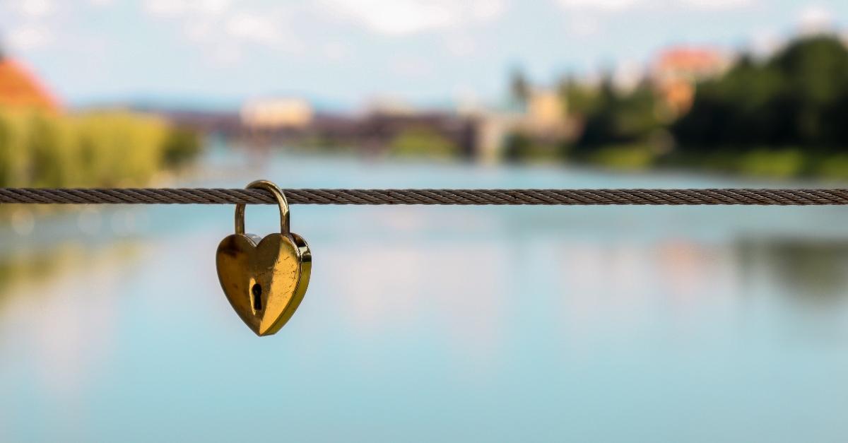 Heart lock on a bridge