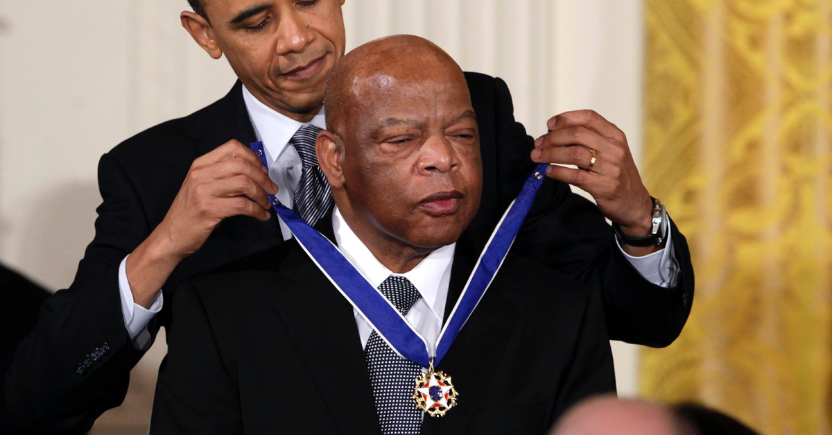 John Lewis being given a medal by President Obama, How John Lewis fought again anti-semitism