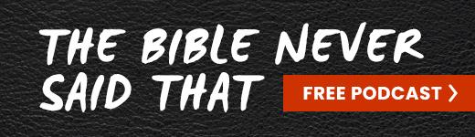 La publicité du podcast La Bible n'a jamais dit ça