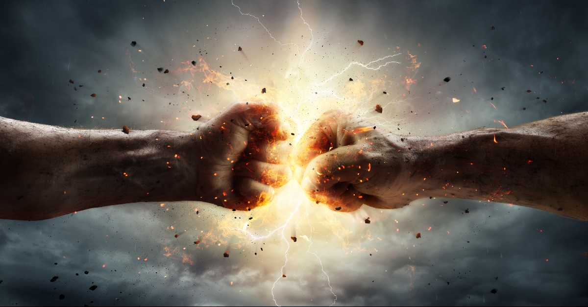 Two fists in a thunderstorm