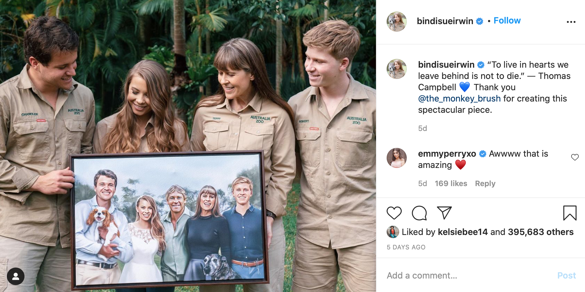 Bindi Irwin and family holding a portrait of their family at Bindis wedding