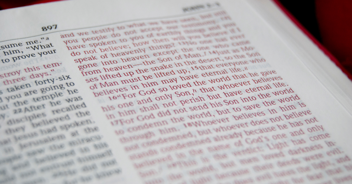 closeup of John 3-16 in an open Bible