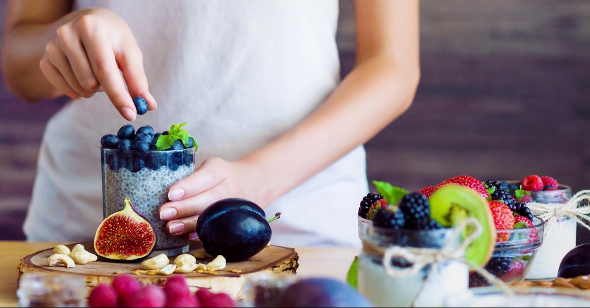 Woman preparing fruits and veg