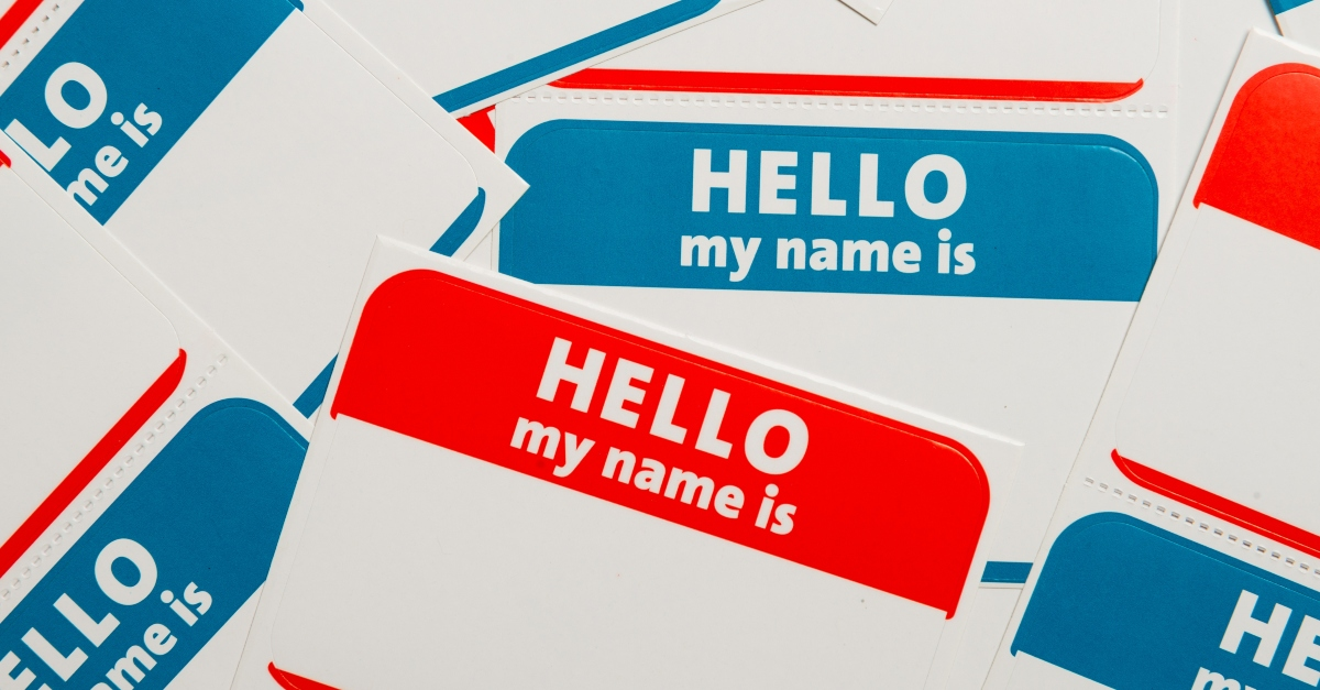Stack of nametag stickers