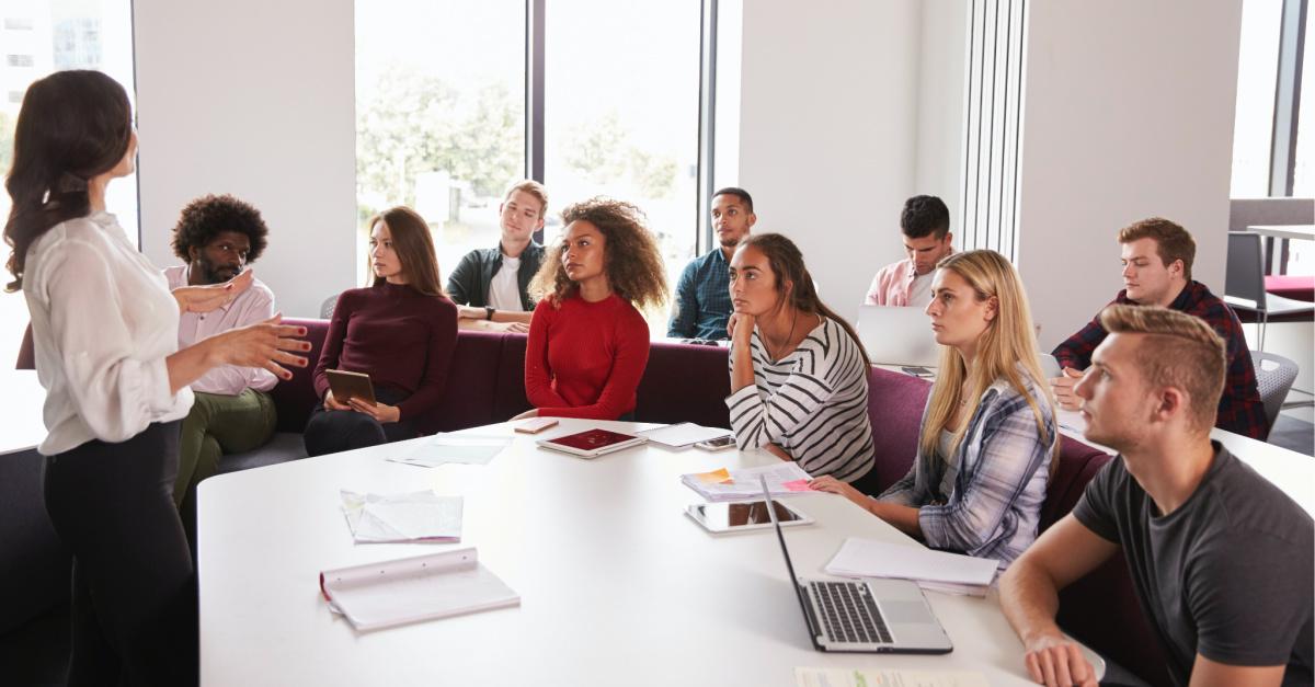 Professor teaching a classroom, A university steps in after a professor regulates students' free speech