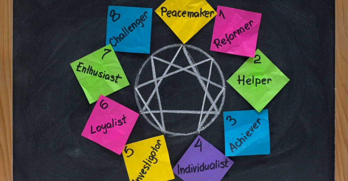 enneagram types on a chalkboard
