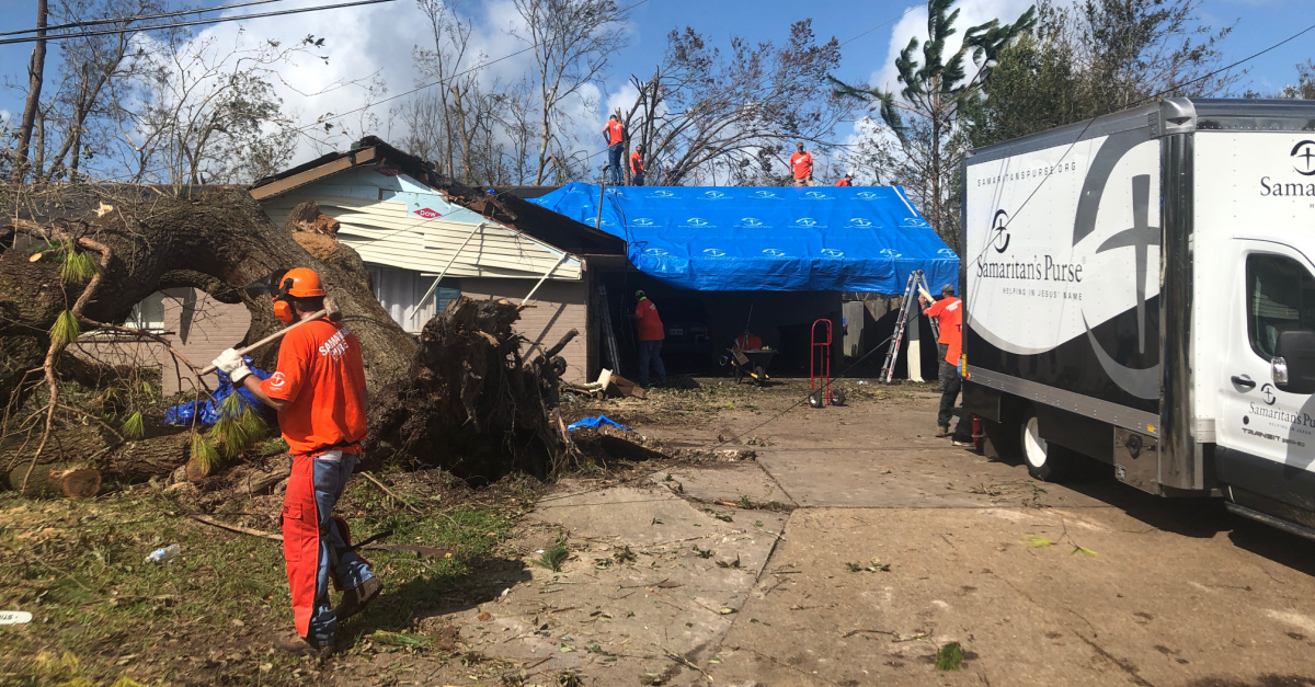 Samaritan's Purse volunteers helping to rebuild a house, Samaritan's Purse and Operation Blessing head to Gulf Coast to help rebuild following Hurricane Laura
