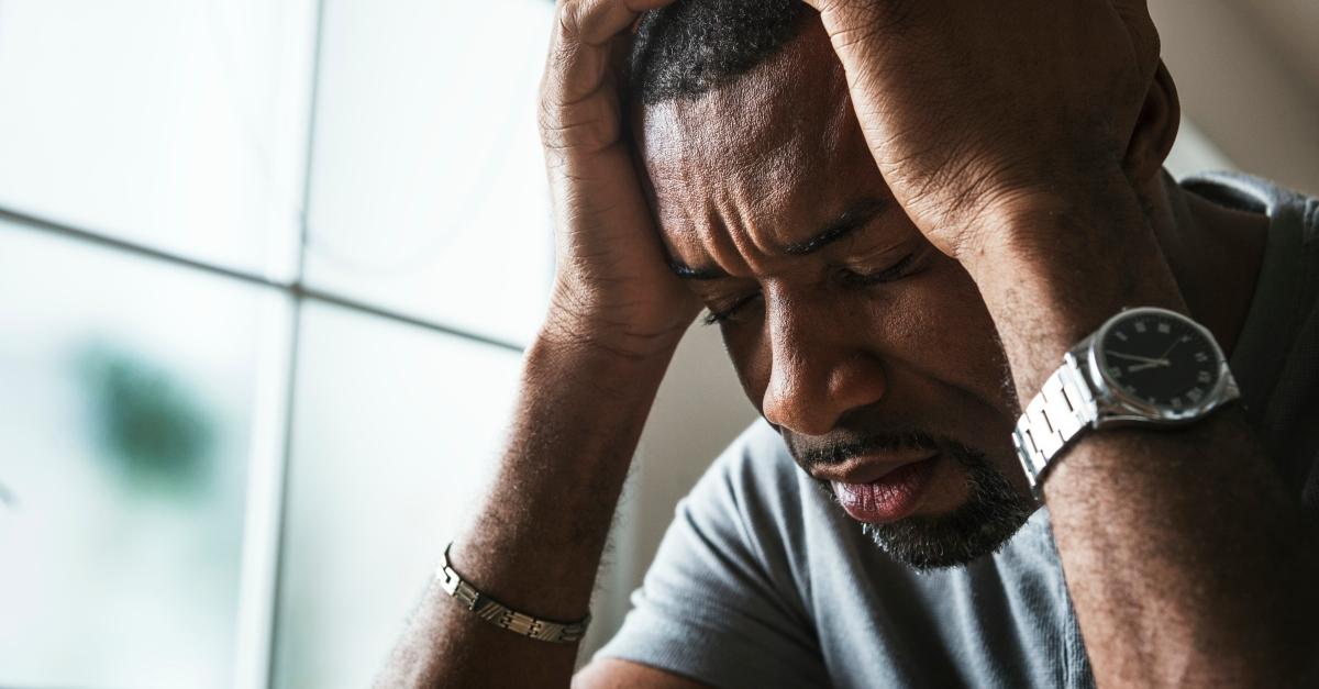 man upset and stressed battling sin