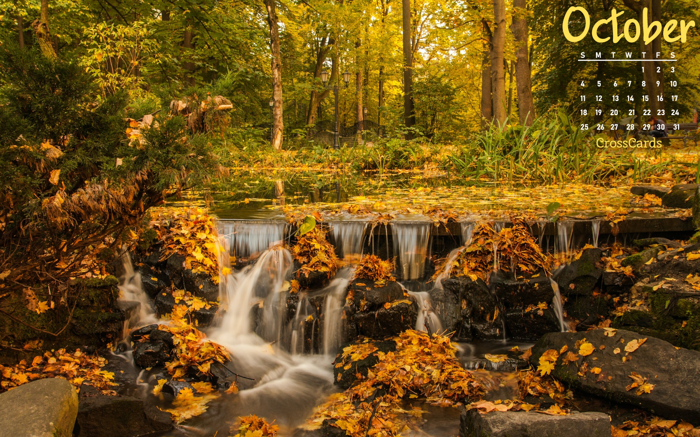 October 2020 - Autumn Waterfall mobile phone wallpaper