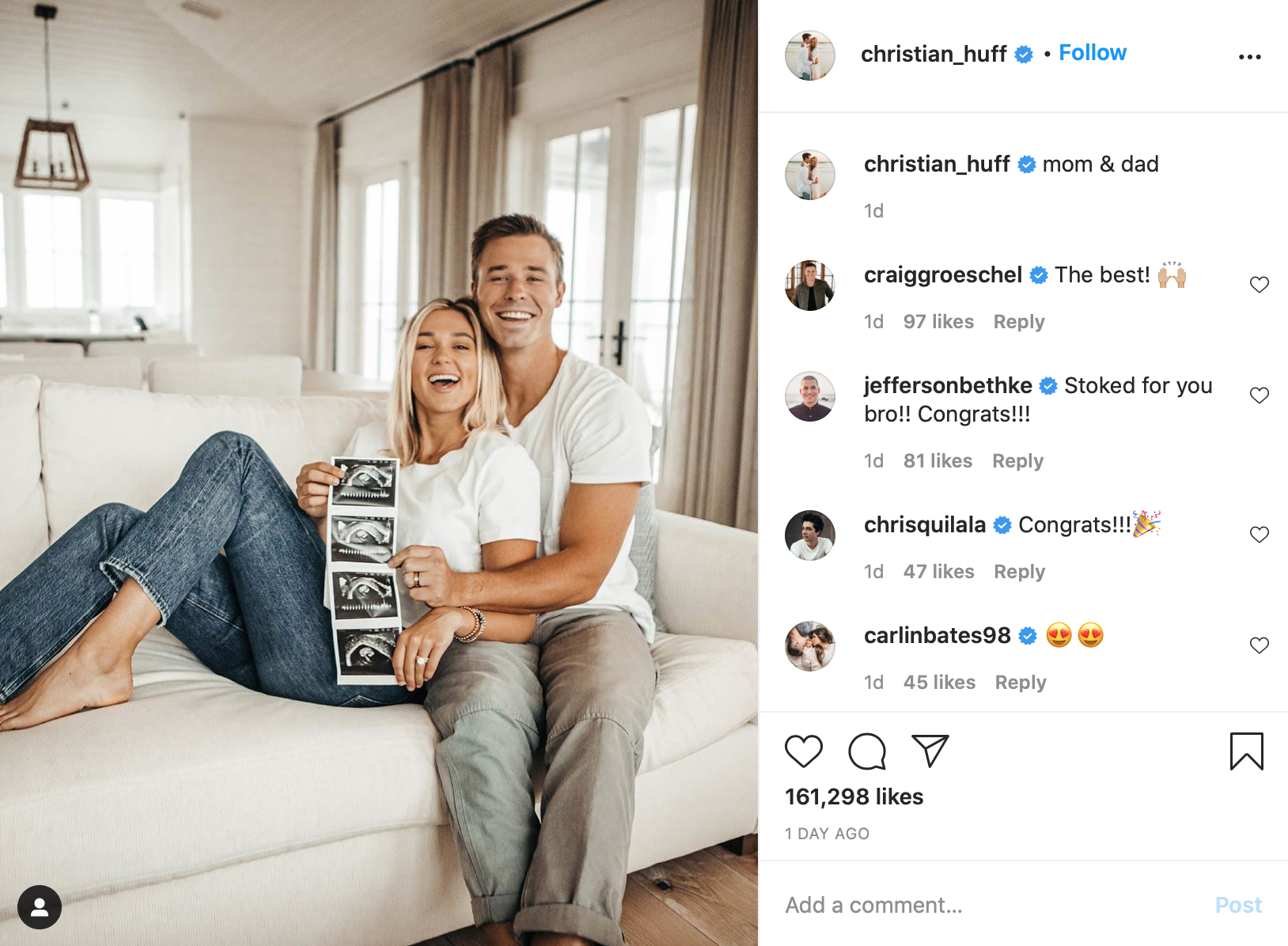 Christian Huff, Sadie and Christian Huff announce pregnancy
