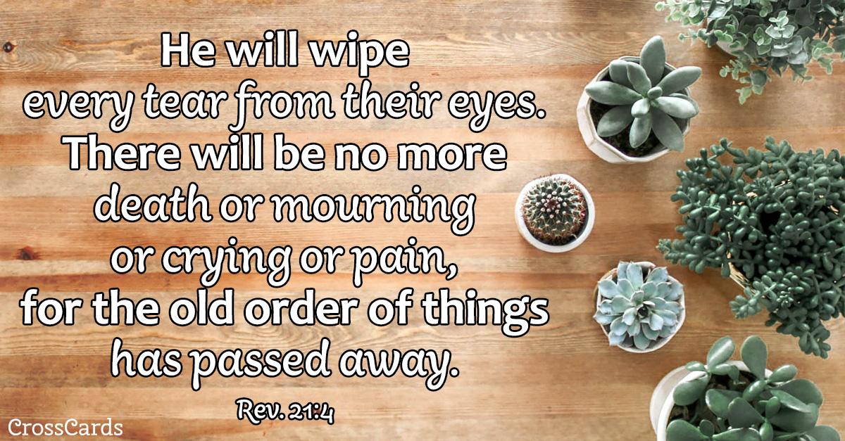Revelation 21:4 - He Will Wipe away Every Tear ecard, online card