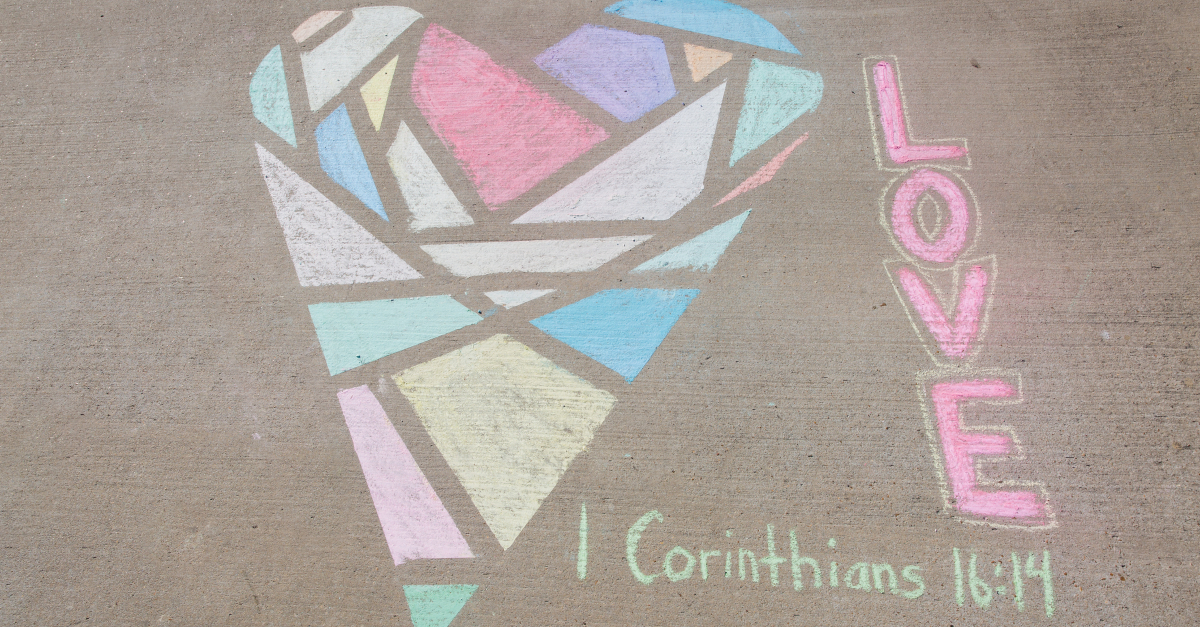 multicolored chalk heart to represent love and diversity
