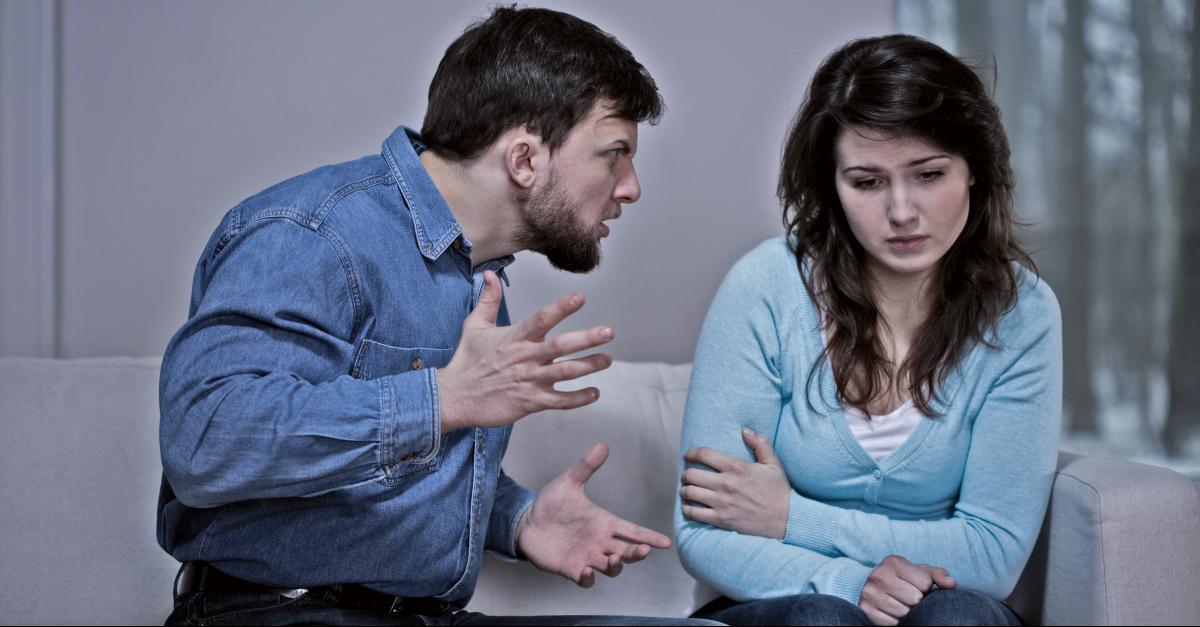 narcissistic man yelling at sad woman