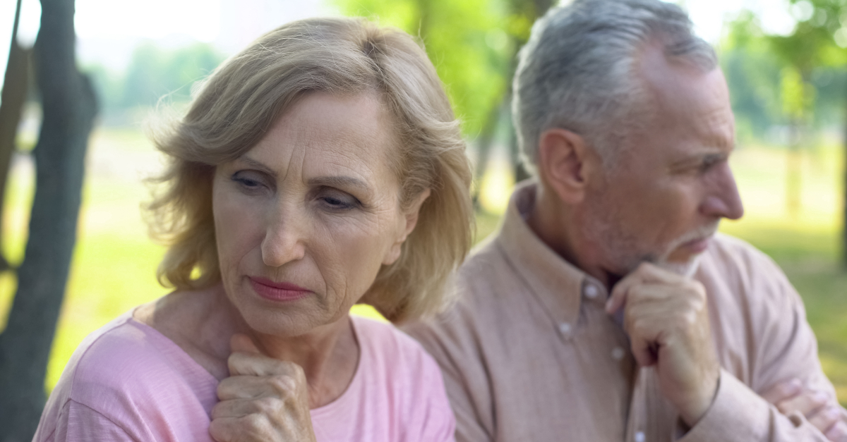 senior couple upset with each other after argument