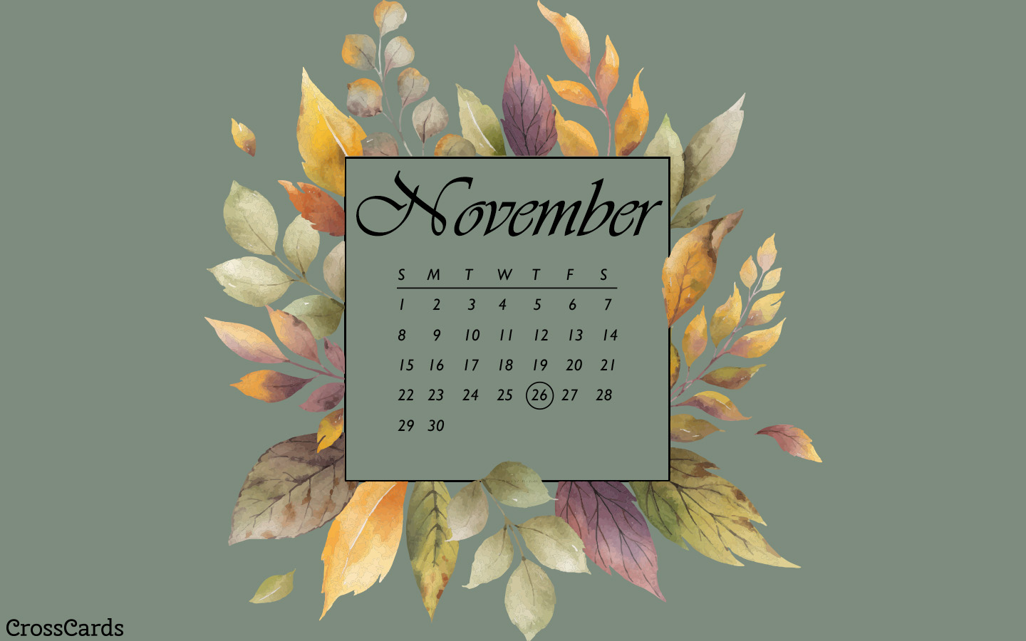 November 2020 - Watercolor Leaves mobile phone wallpaper