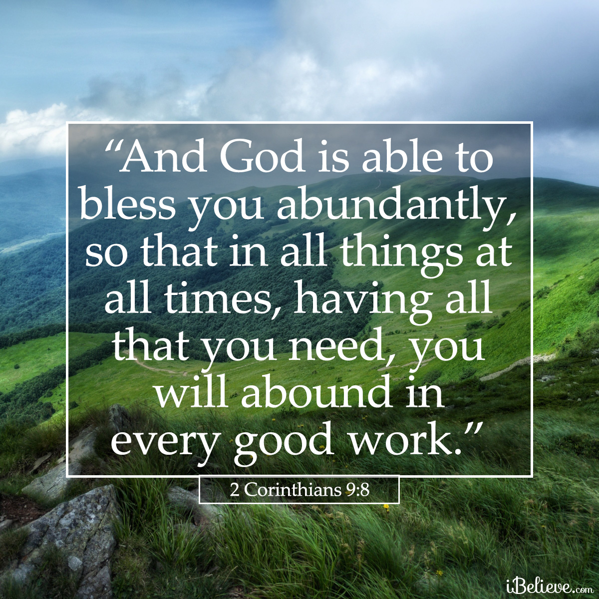 2 Corinthians 9:8, inspirational image