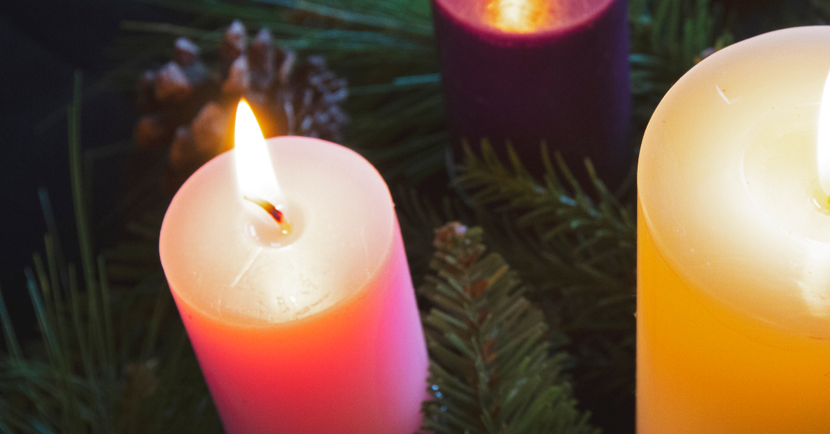 short advent-candles white purple and pink for third sunday of advent joy
