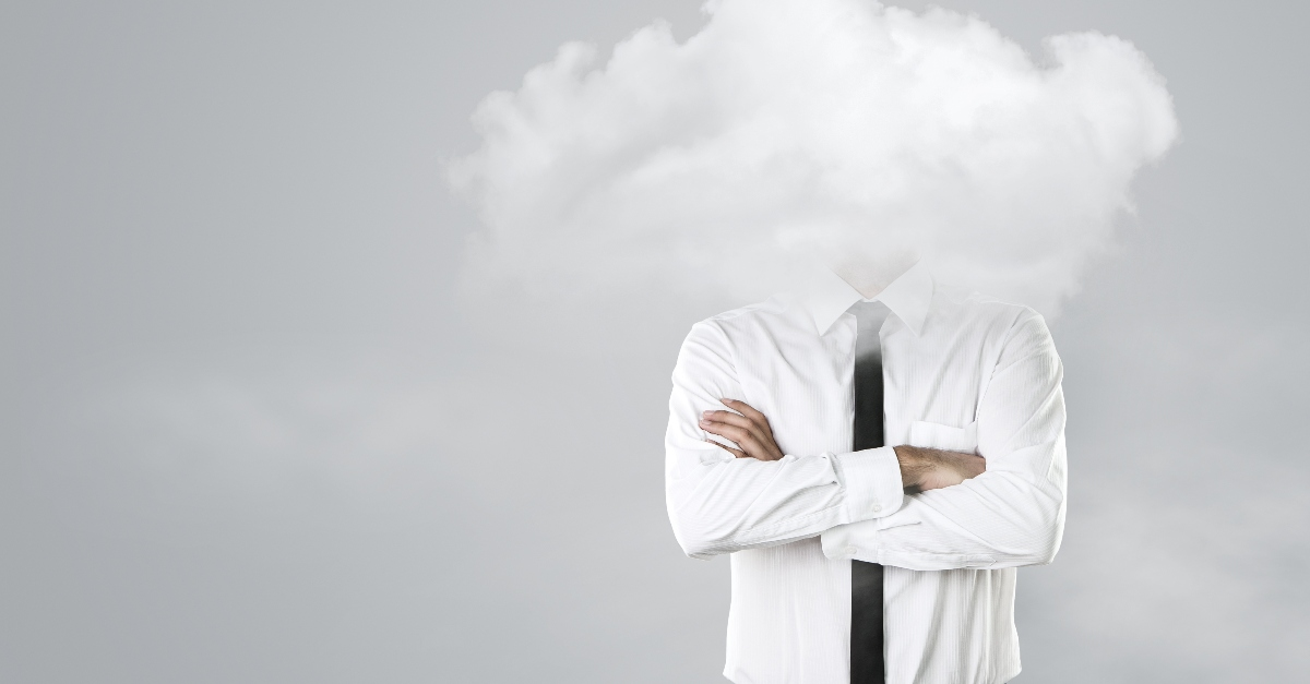 business man with head in clouds, warnings in Bible about complacency