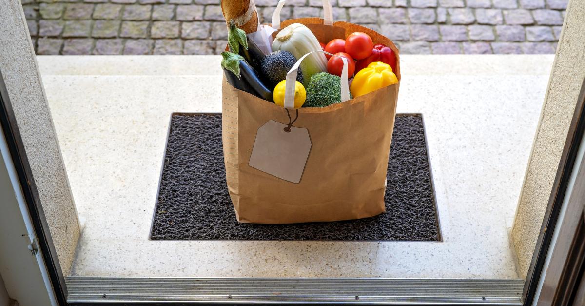 bag of garden vegetables left at door giving in secret