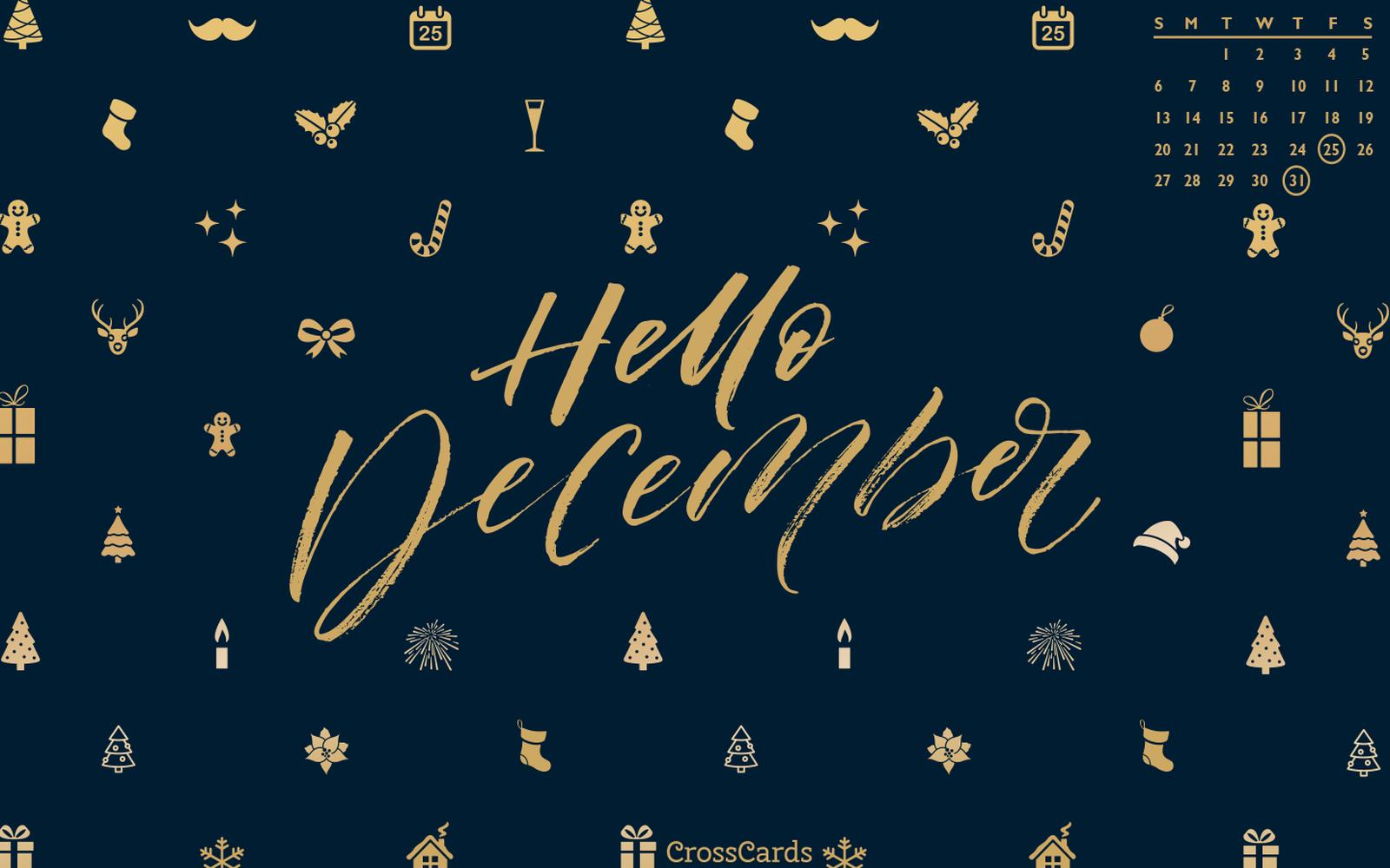 December 2020 - Hello December mobile phone wallpaper