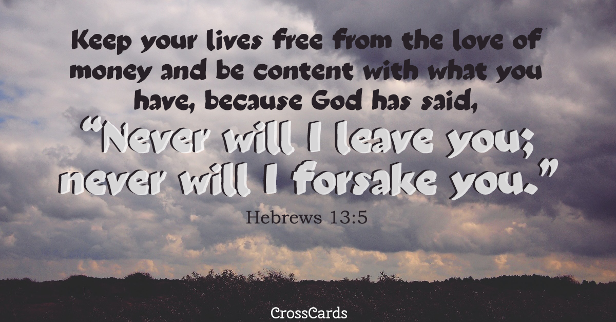 Hebrews 13:5 ecard, online card
