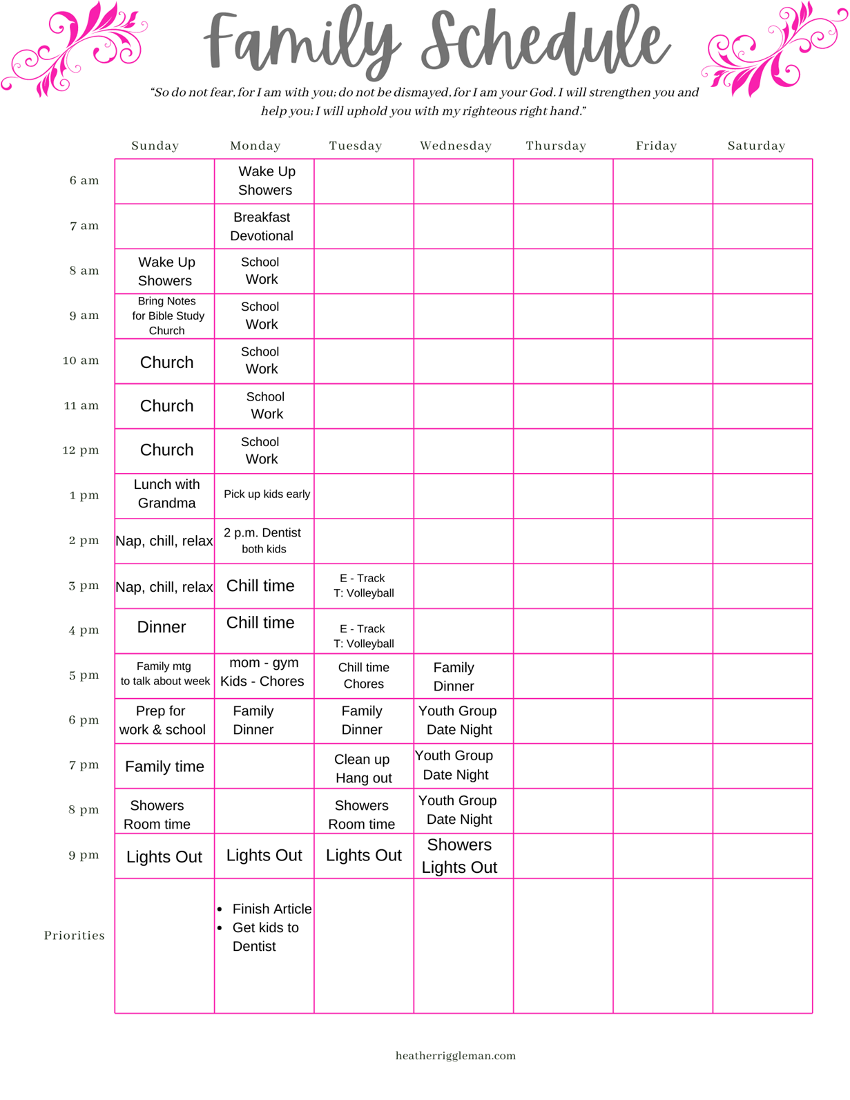 heather rigglemans family schedule