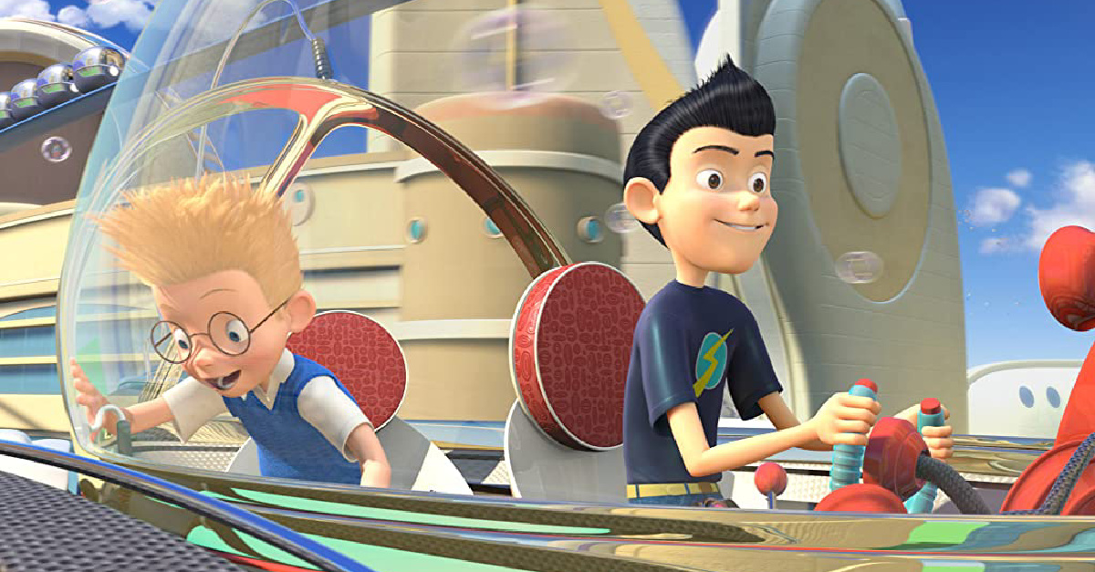 Lewis and his friend flying an aircraft in Meet the Robinsons