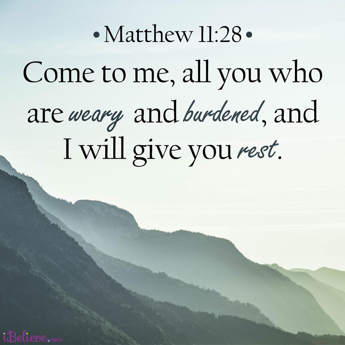 Matthew 11:28, inspirational image