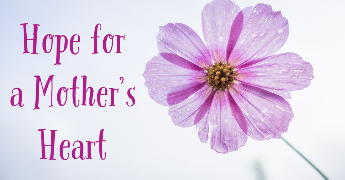 flower with text that reads Hope for a Mothers heart