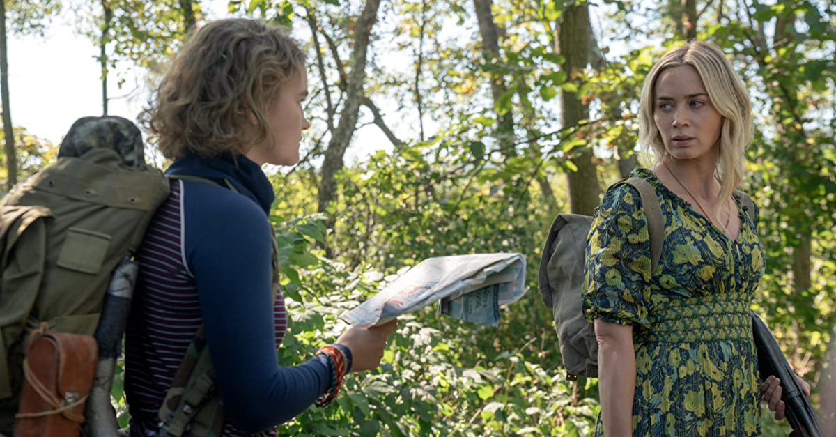 Emily Blunt in the woods in a Quiet Place 2