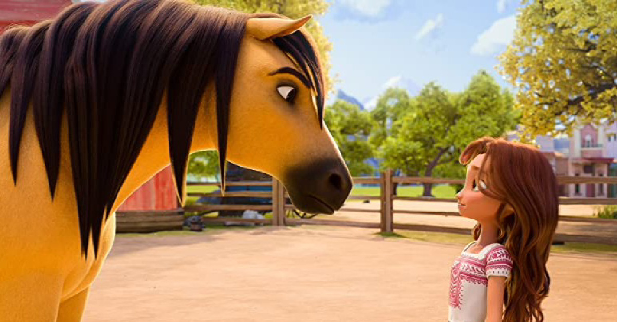 An animated girl and horse in Spirit Untamed