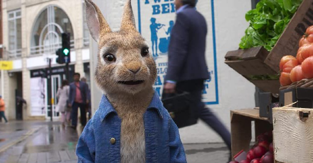 Animated Peter Rabbit standing in the street