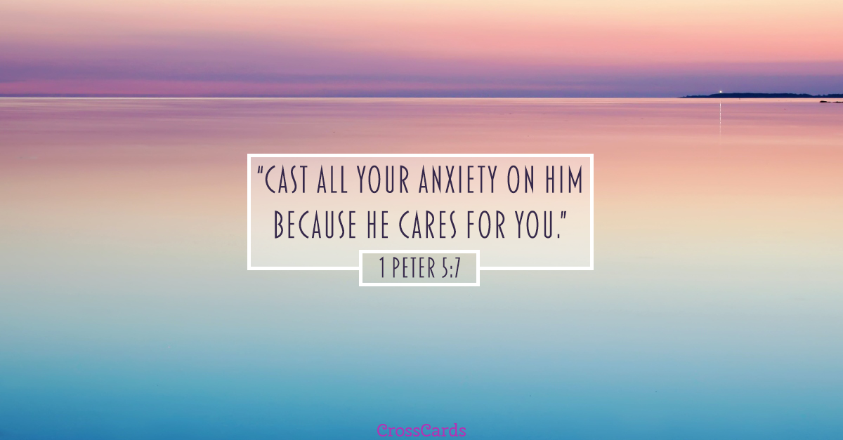 1 Peter - Cast Your Cares on Him ecard, online card