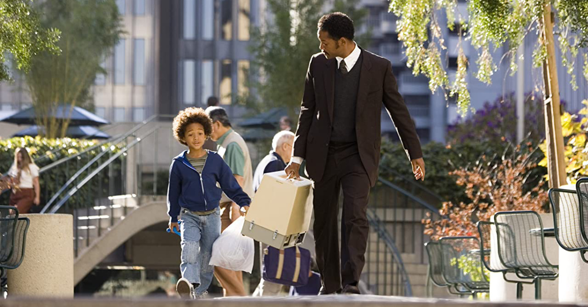Will Smith in the Pursuit of Happyness, a Will Smith movie that will make you cry