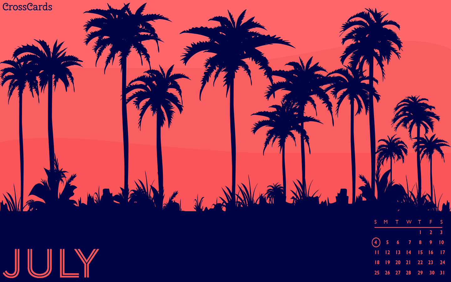 July 2021 - Palm Trees mobile phone wallpaper