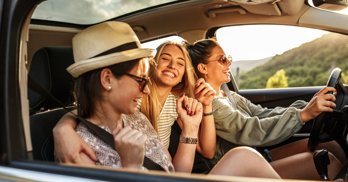 Group of teenage girls on a road trip