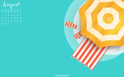 August 2021 - Beach Umbrella mobile phone wallpaper