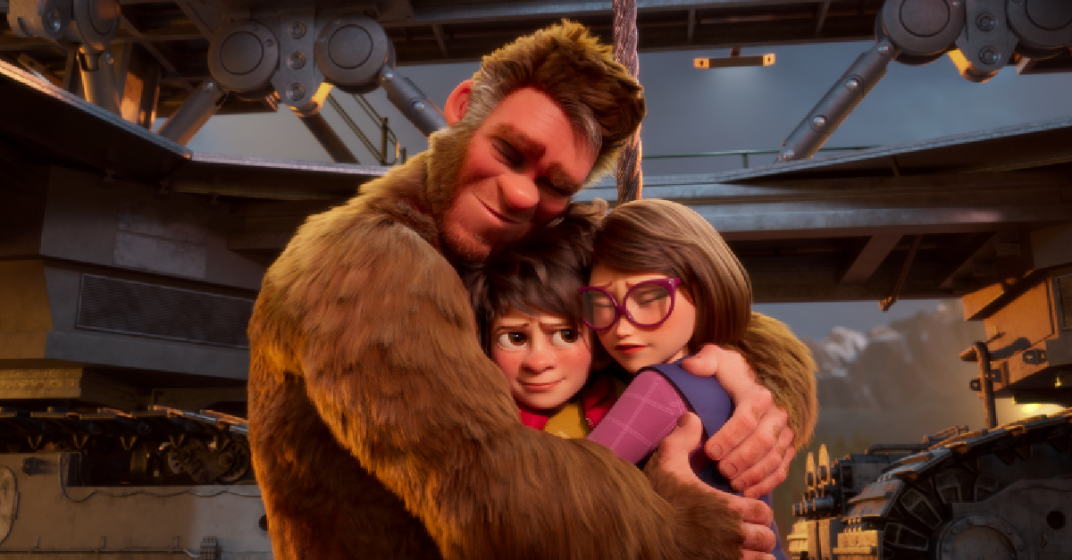 A man in a Bigfoot suit hugging his family