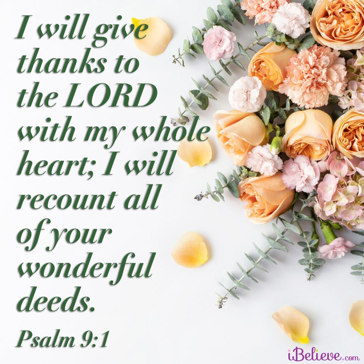 Psalm 9:1, inspirational image