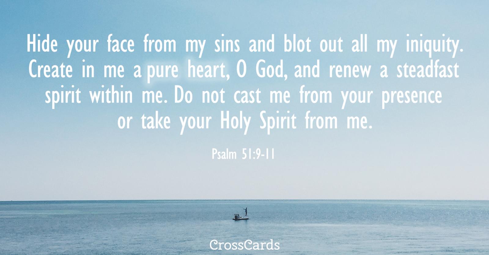 Psalm 51:9-11 ecard, online card